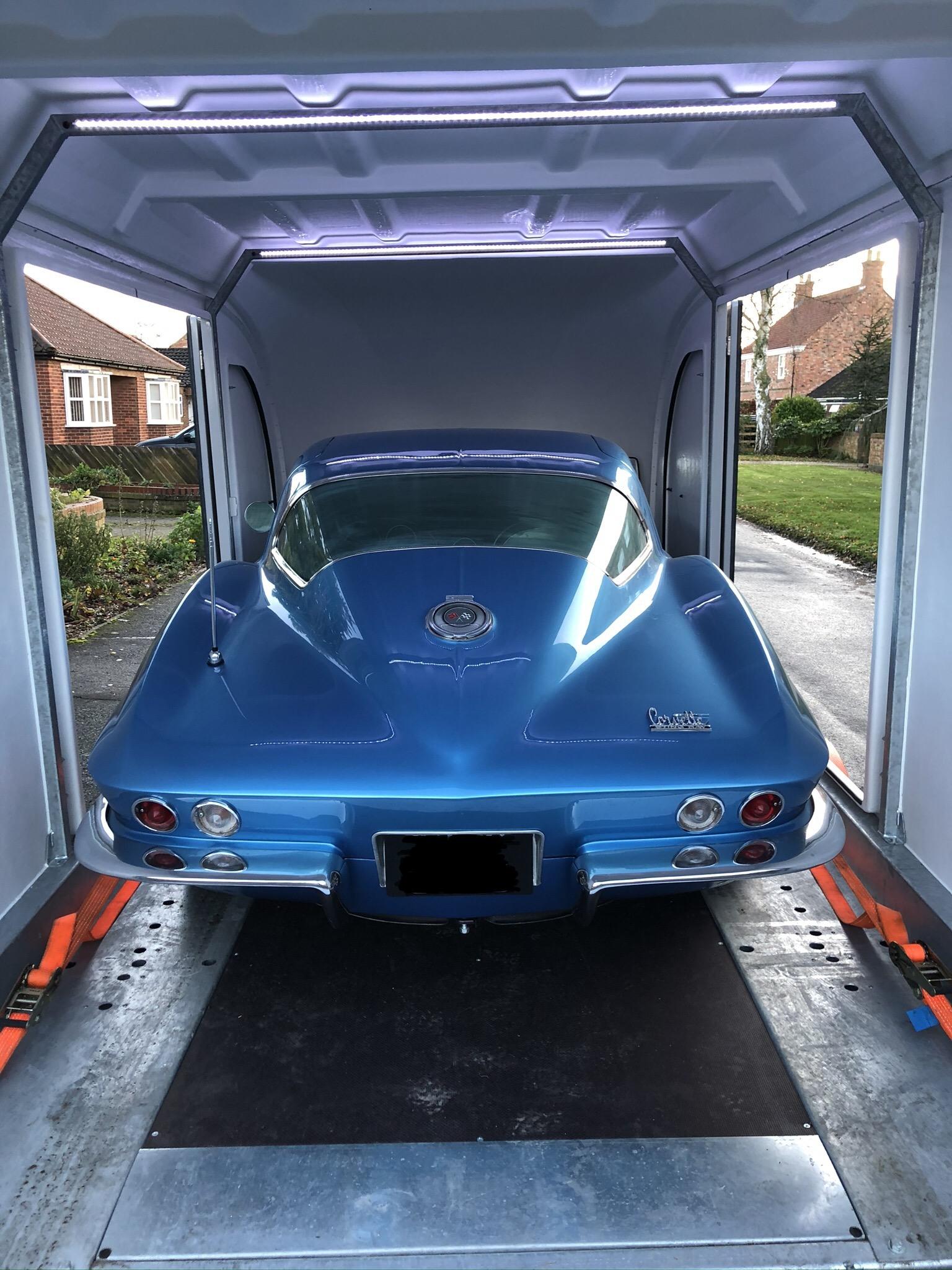 Corvette Stingray enclosed car delivery