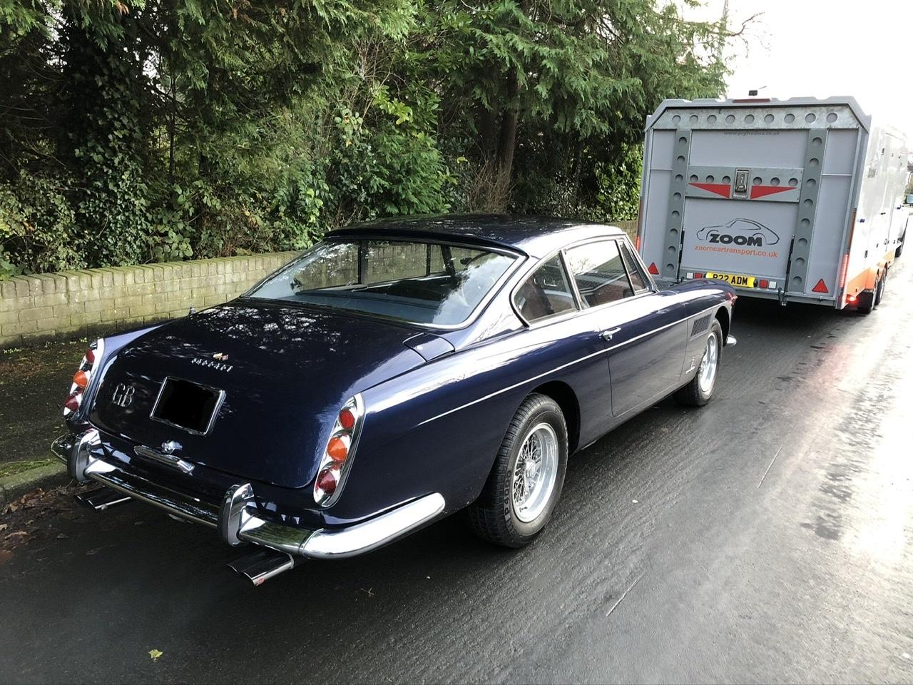 Classic Ferrari 250 GTE vehicle transport in enclosed trailer