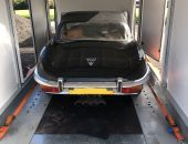Enclosed car transport of Jaguar E-Type
