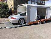 Porsche 911 997 loading in enclosed trailer Zoom