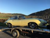 Classic car delivery of Jaguar E-type