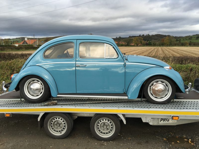 Classic VW Beetle transport for engine and gear box fitting